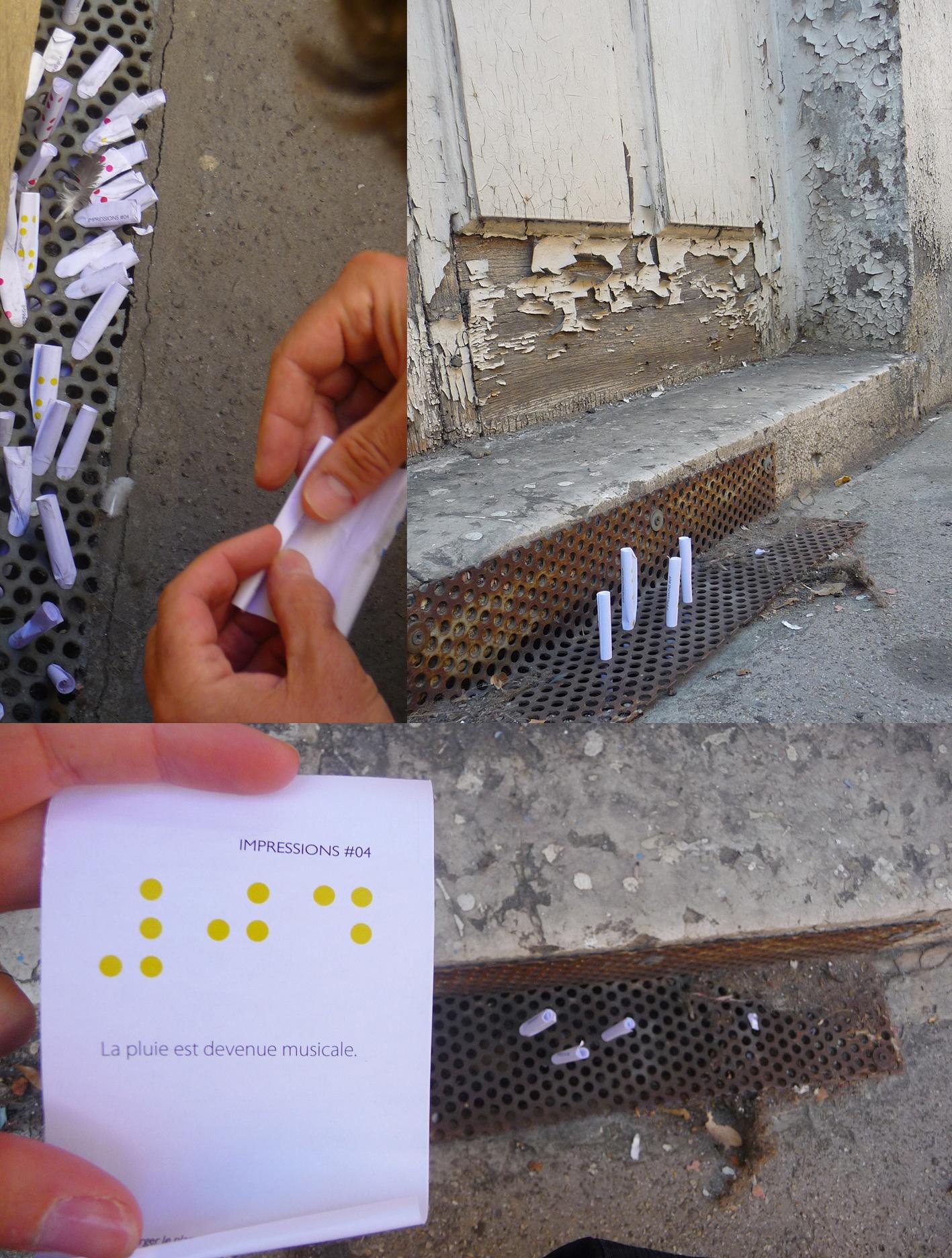 Installation de papiers dans l'espace public